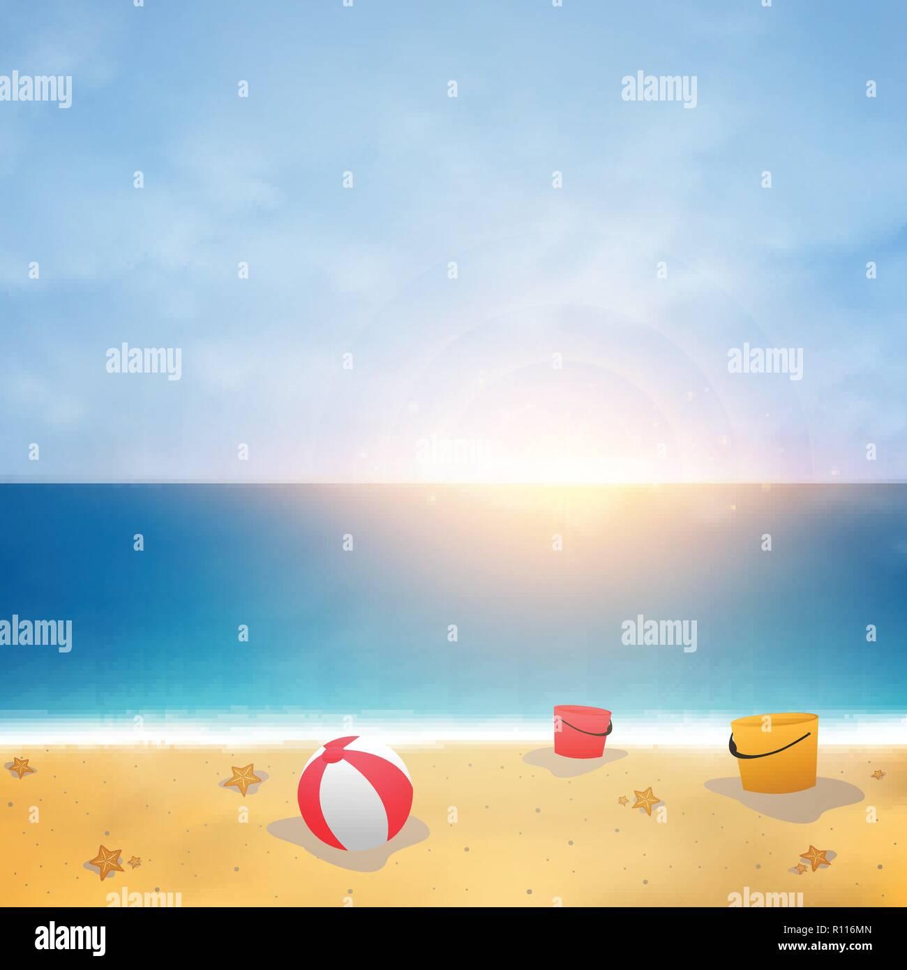 Summer background on blue sky beach with sunny burst, vector eps10 - Stock Vector