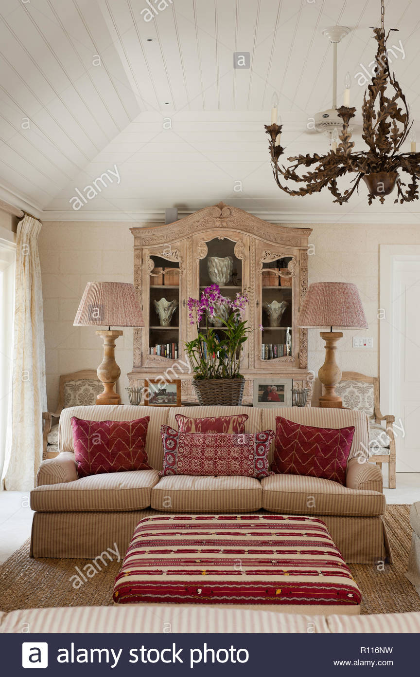 Red And White Country Style Living Room   Stock Image
