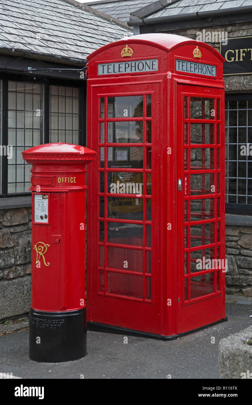 letter box and telephone booth, Jamaica Inn, Bolventor, Cornwall, England, Great Britain - Stock Image