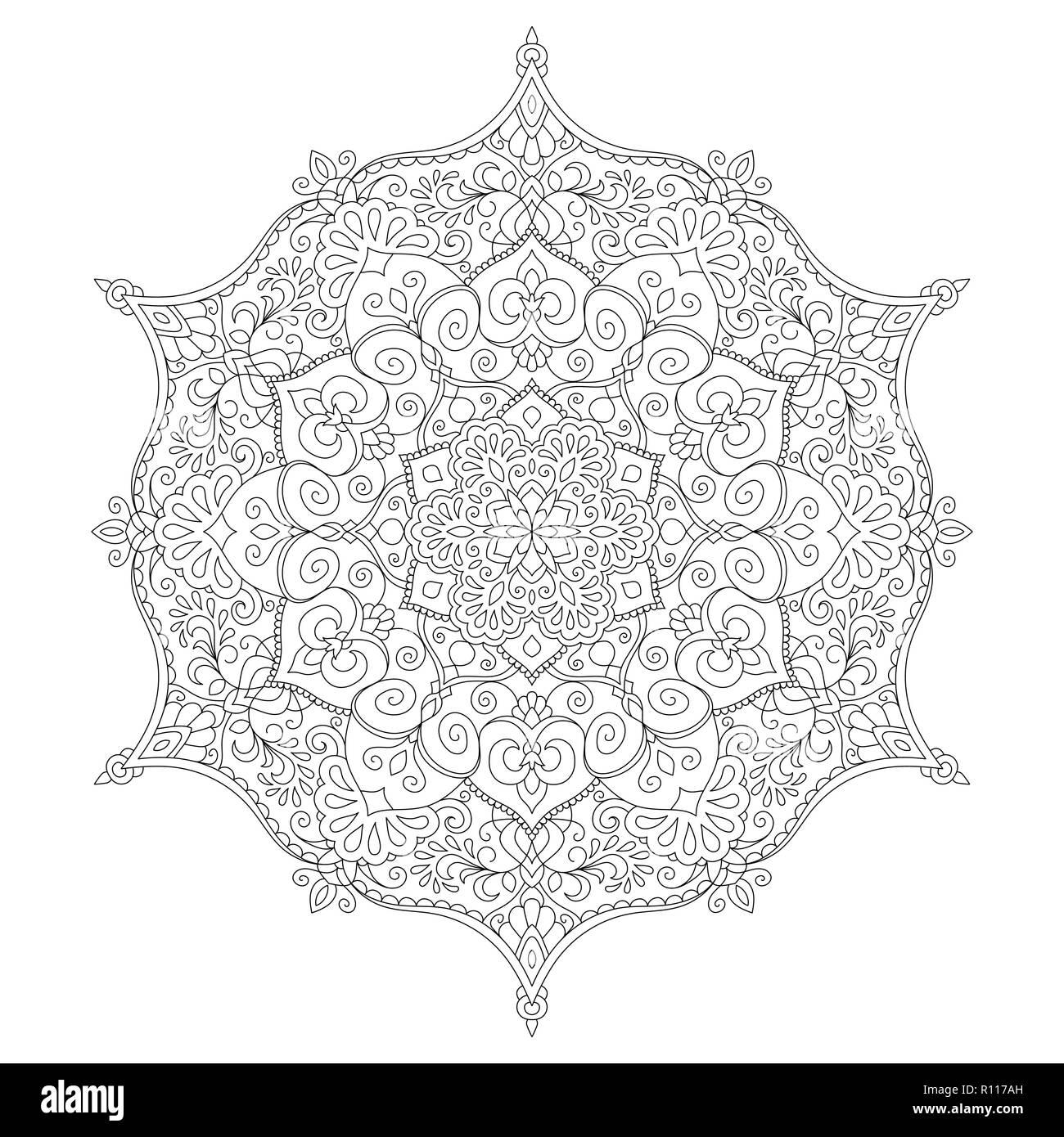- Mandala Coloring Page Flower Design Element For Adult Color Book