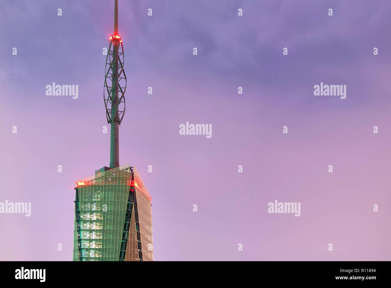 Night View of Sky Scraper, Nairobi, Kenya - Stock Image