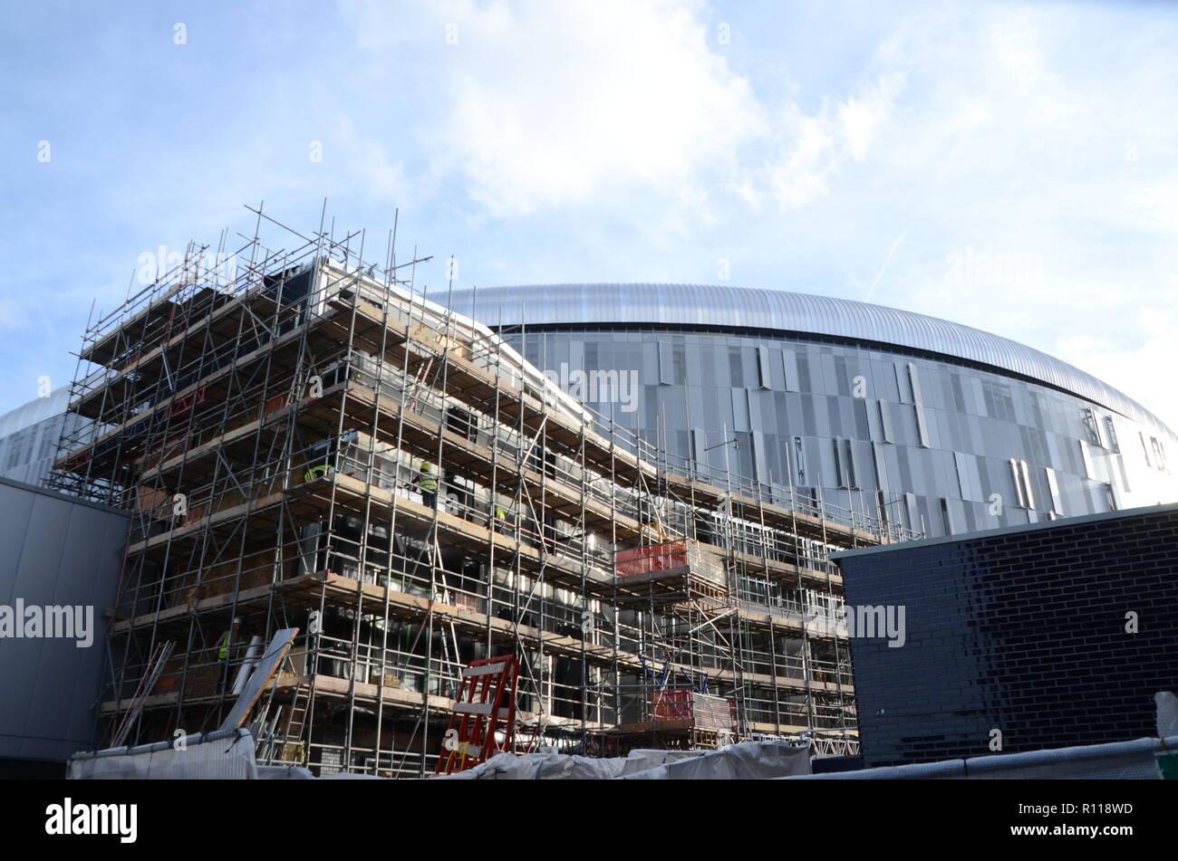 tottenham,Tottenhams new stadium,white hart lane,N17,hotspur,football,development,november 2018,construction,stadium,soccer,spurs,premier,league,built - Stock Image