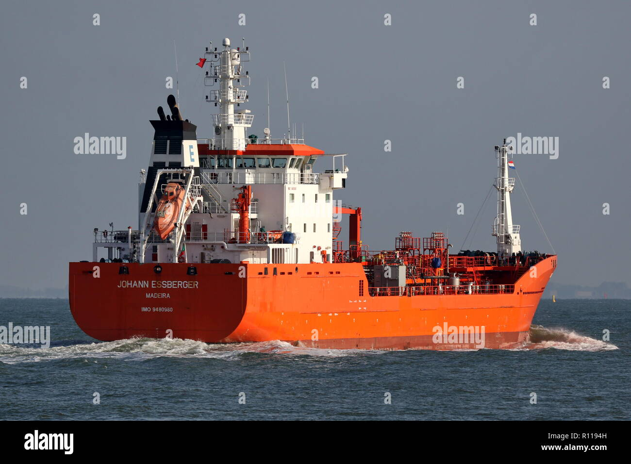 The tanker Johann Essberger passes on 19 October 2019 Terneuzen and continues towards Antwerp. - Stock Image