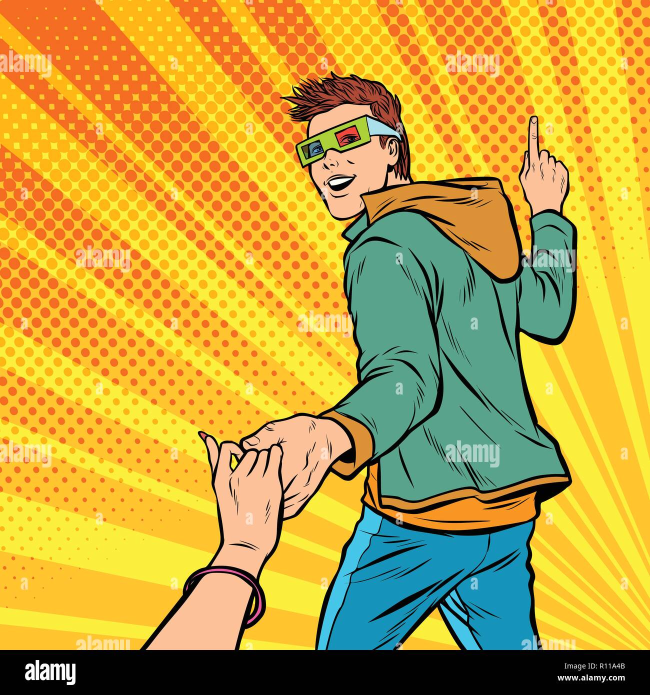 follow me. couple young man and girl go to the cinema to watch a - Stock Vector