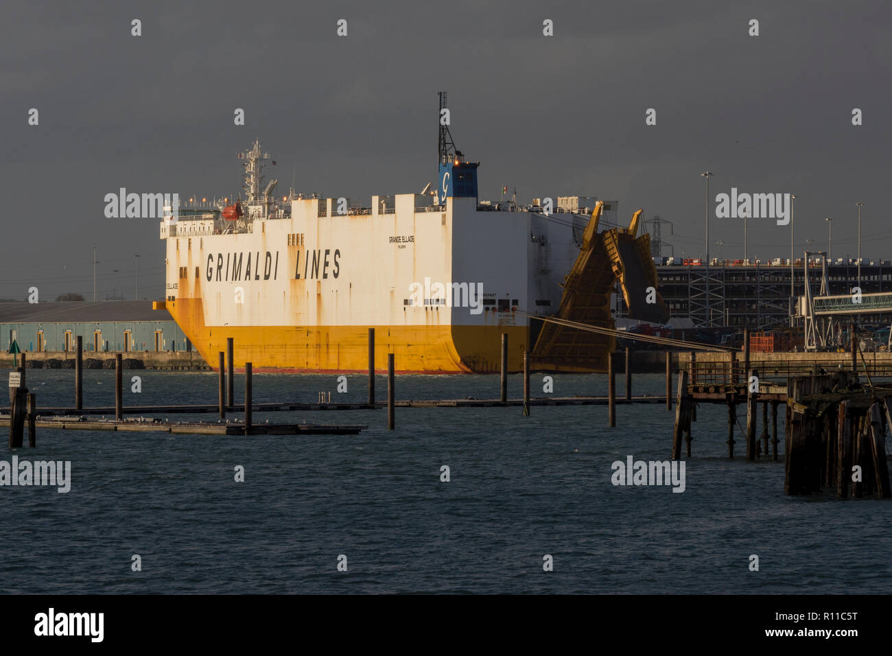 a grimaldi lines car carrier ship or vehicle transporter in dock at the port of southampton, hampshire, uk. - Stock Image
