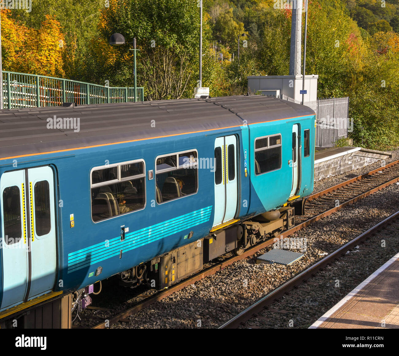 MOUNTAIN ASH, WALES - OCTOBER 2018: 'Sprinter' diesel commuter train at Mountain Ash railway station. - Stock Image