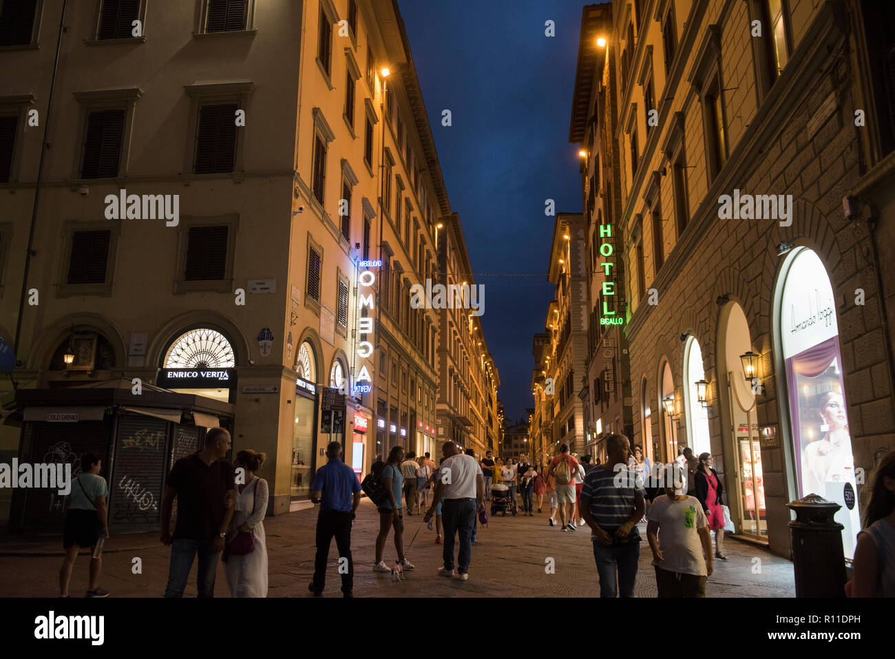 Evening blue hour in the centre of Florence, Italy Europe - Stock Image