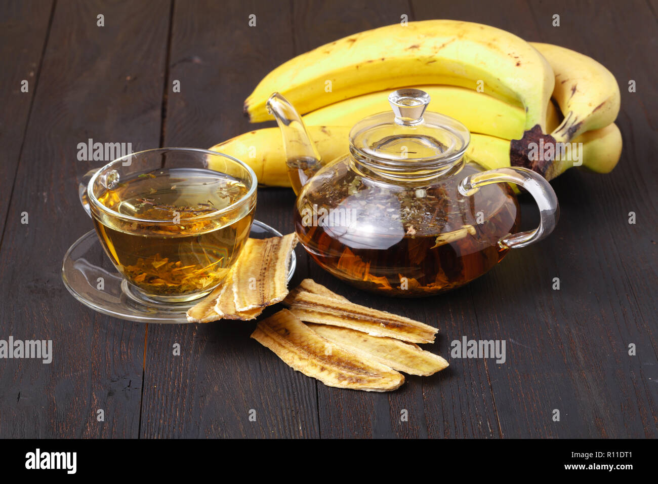 Dried banana, dried fruit on wooden background, Healthy food Stock Photo
