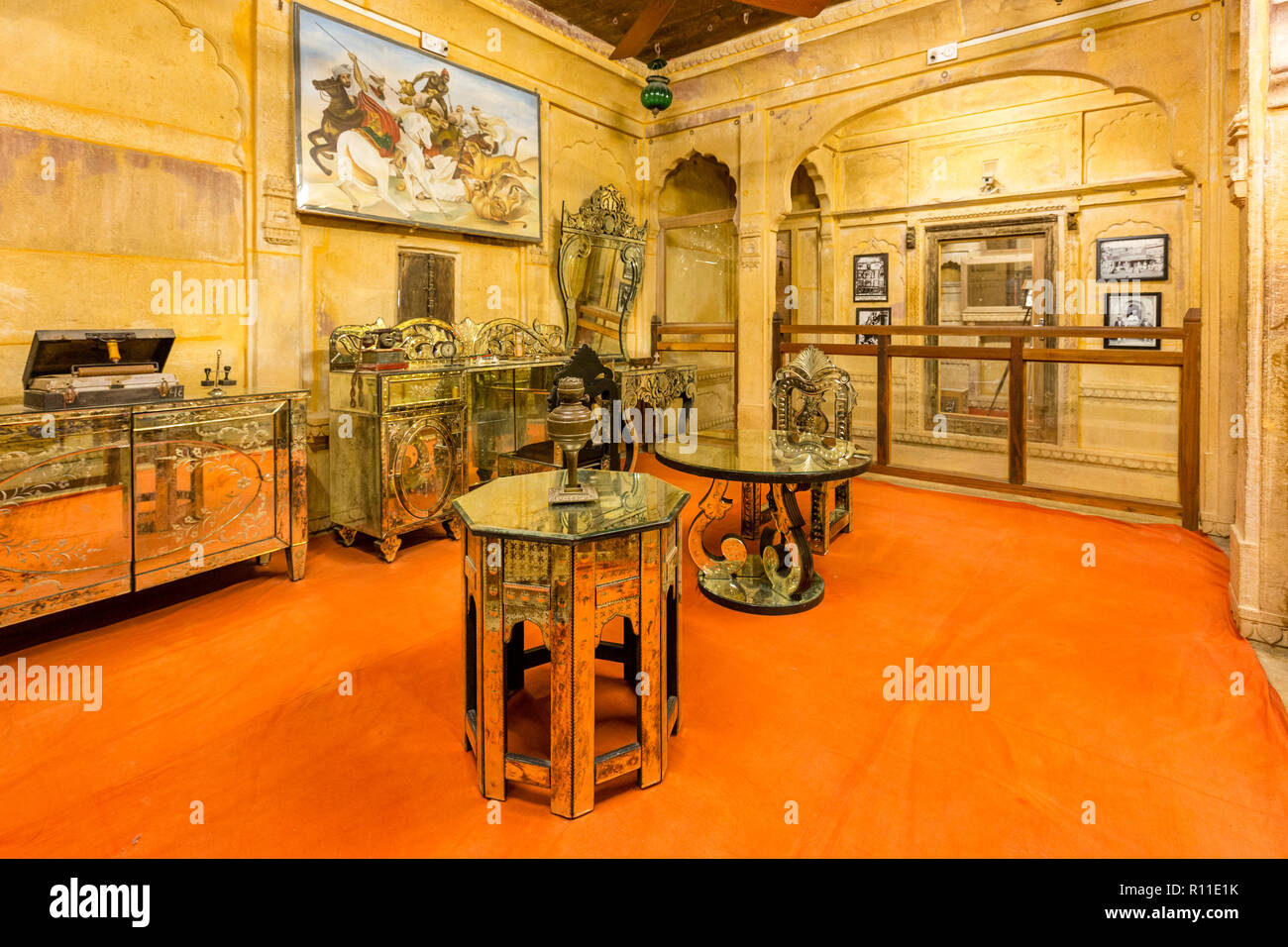 Antique items inside the Patwon-ki-Haveli in the desert town of Jaisalmer in the state of Rajasthan in western India - Stock Image