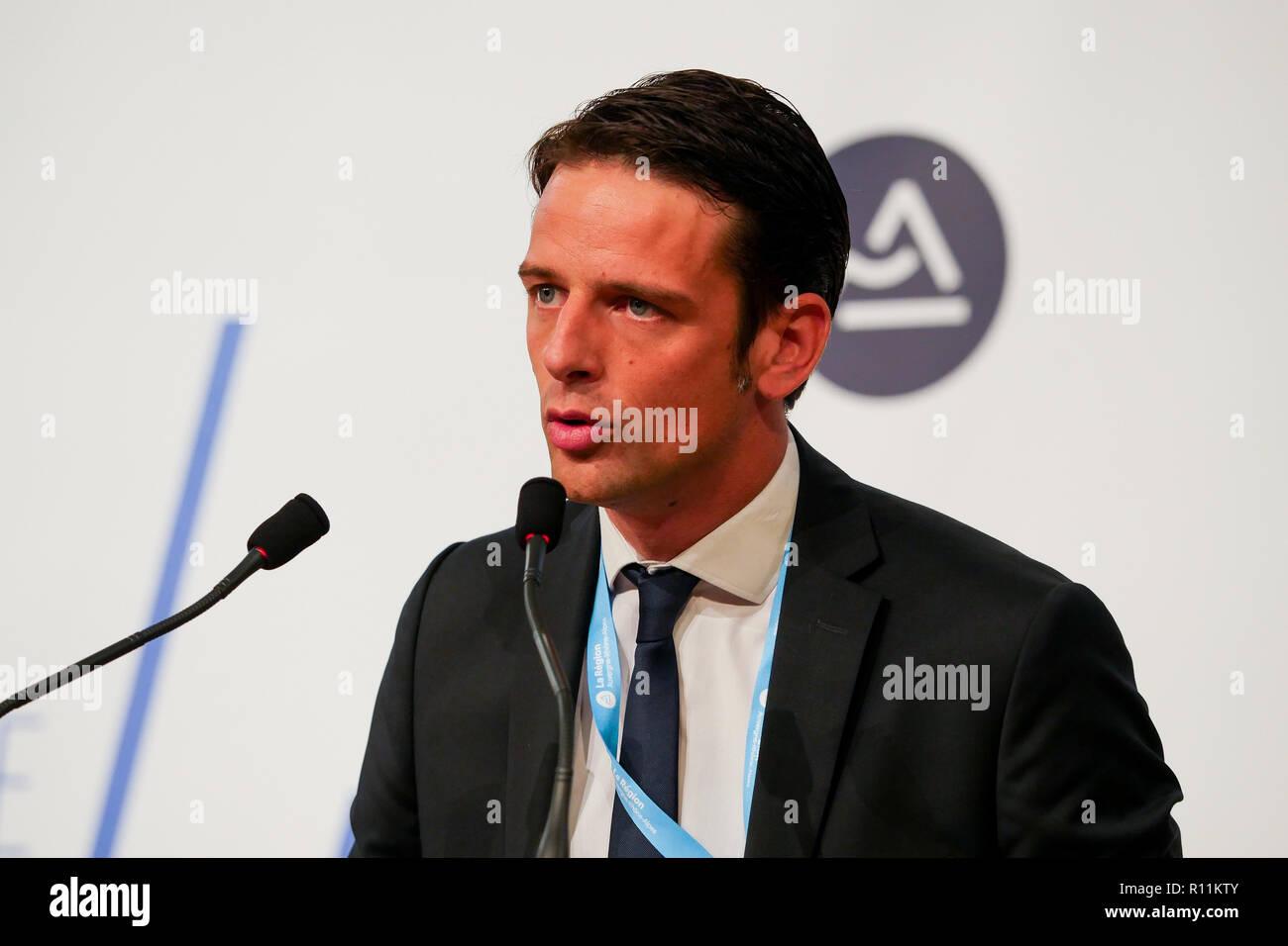 Franck Colcombet, General Director of Tecalemit Aerospace, talks at Regional meetings of Aeronautics and Space Industry, Lyon, France - Stock Image