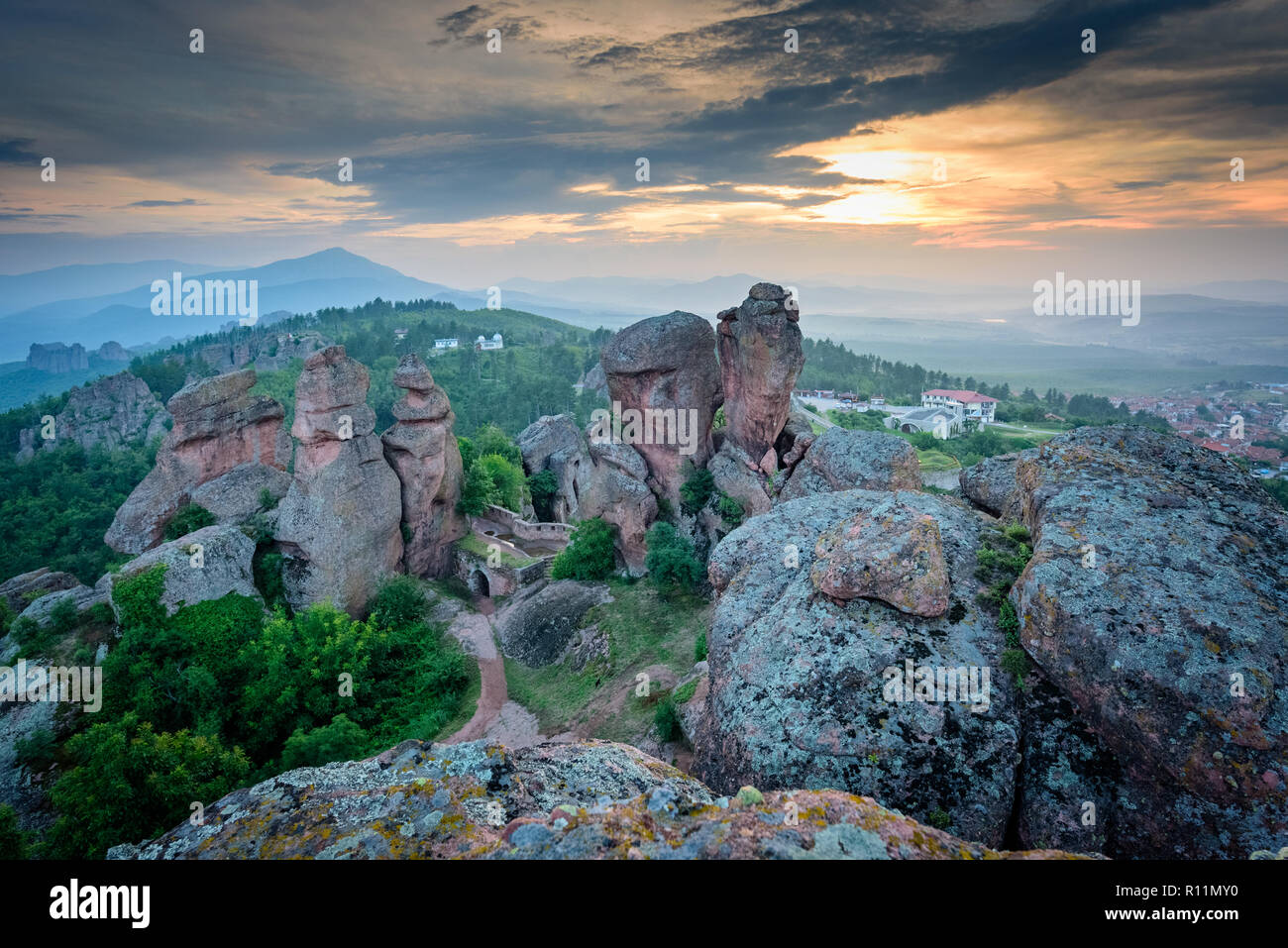 Amazing natural phenomenon - Belogradchik rocks - aerial shots of this beautiful rock formation, popular tourist destination - Stock Image
