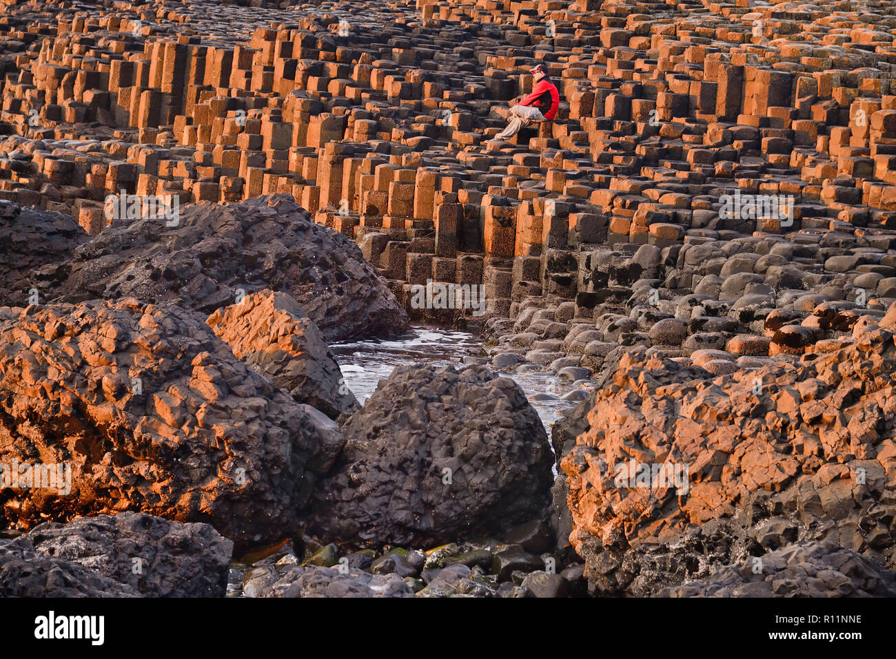 Northern Ireland, County Antrim, Giants Causeway, a tourist sitting among the rocks admiring the view. - Stock Image