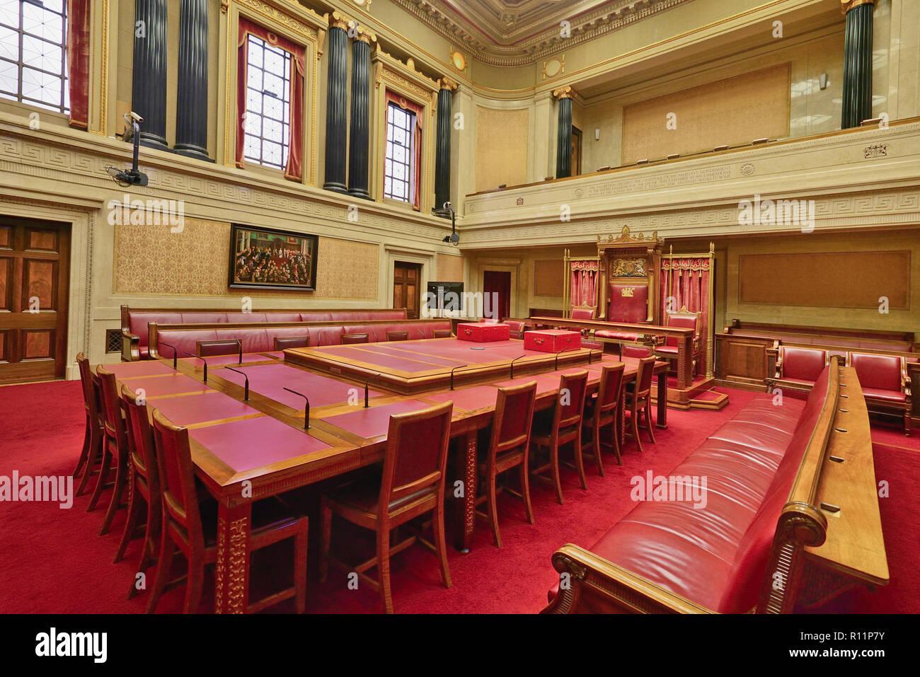 Northern Ireland, County Antrim, Stormont, Parliament Buildings, Senate of Northern Ireland chamber. - Stock Image
