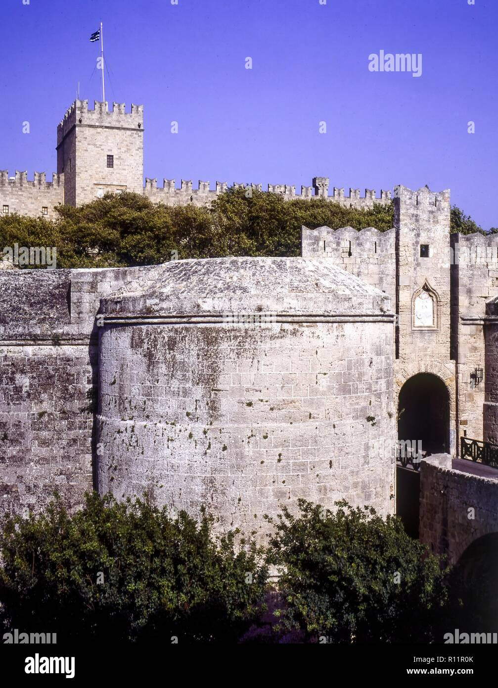 Rhodes Old Town in Greece, is a Medieval Citadel surrounded by Moats and 2 miles of Walls. Eleven gates, including the 16th Century d Amboise Gate ent - Stock Image