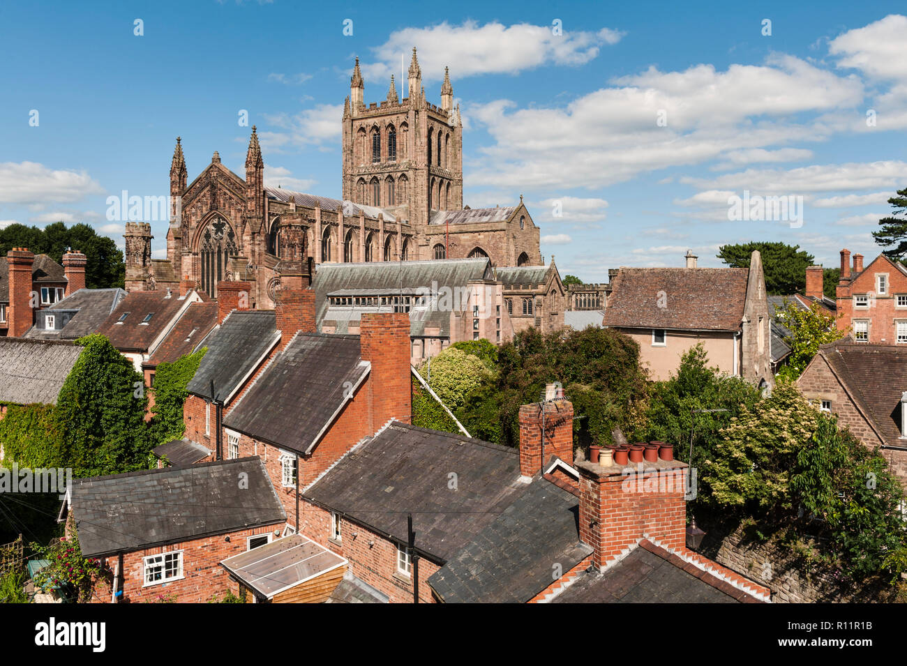 Hereford Cathedral, dating from 1079, dominates the city.