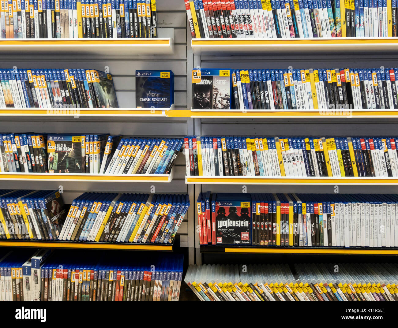 Games for playstation 4 in gaming store. UK - Stock Image