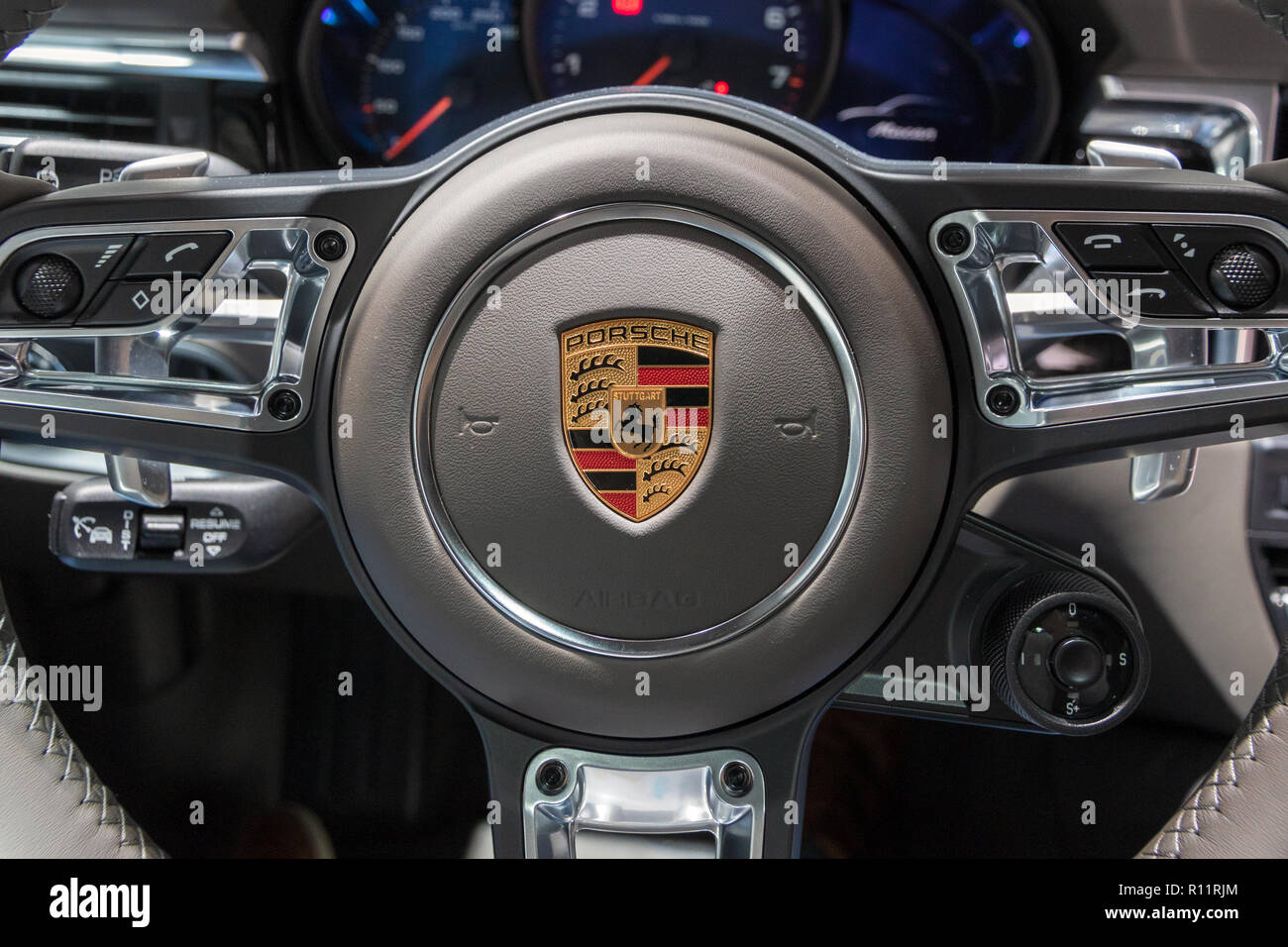 Paris Oct 3 2018 New 2019 Interior View Of The Porsche Macan Suv