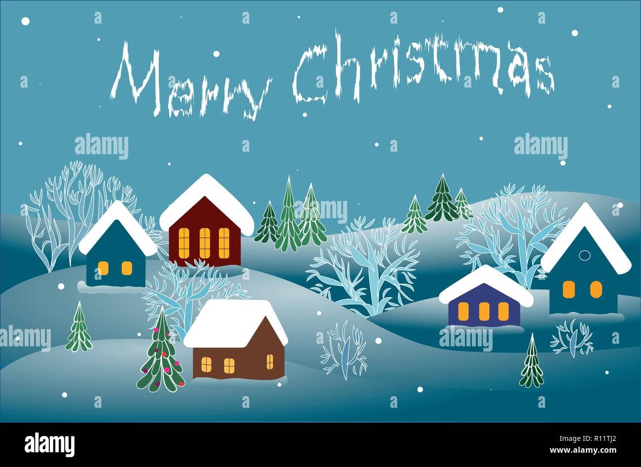 merry Christmas, winter landscape.vector - Stock Vector