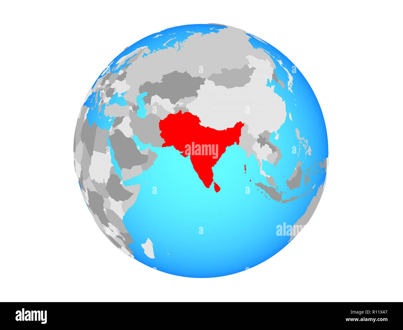 South Asia on blue political globe. 3D illustration isolated ... on map of world globe, map of north america globe, map of new zealand globe, map of middle east globe,