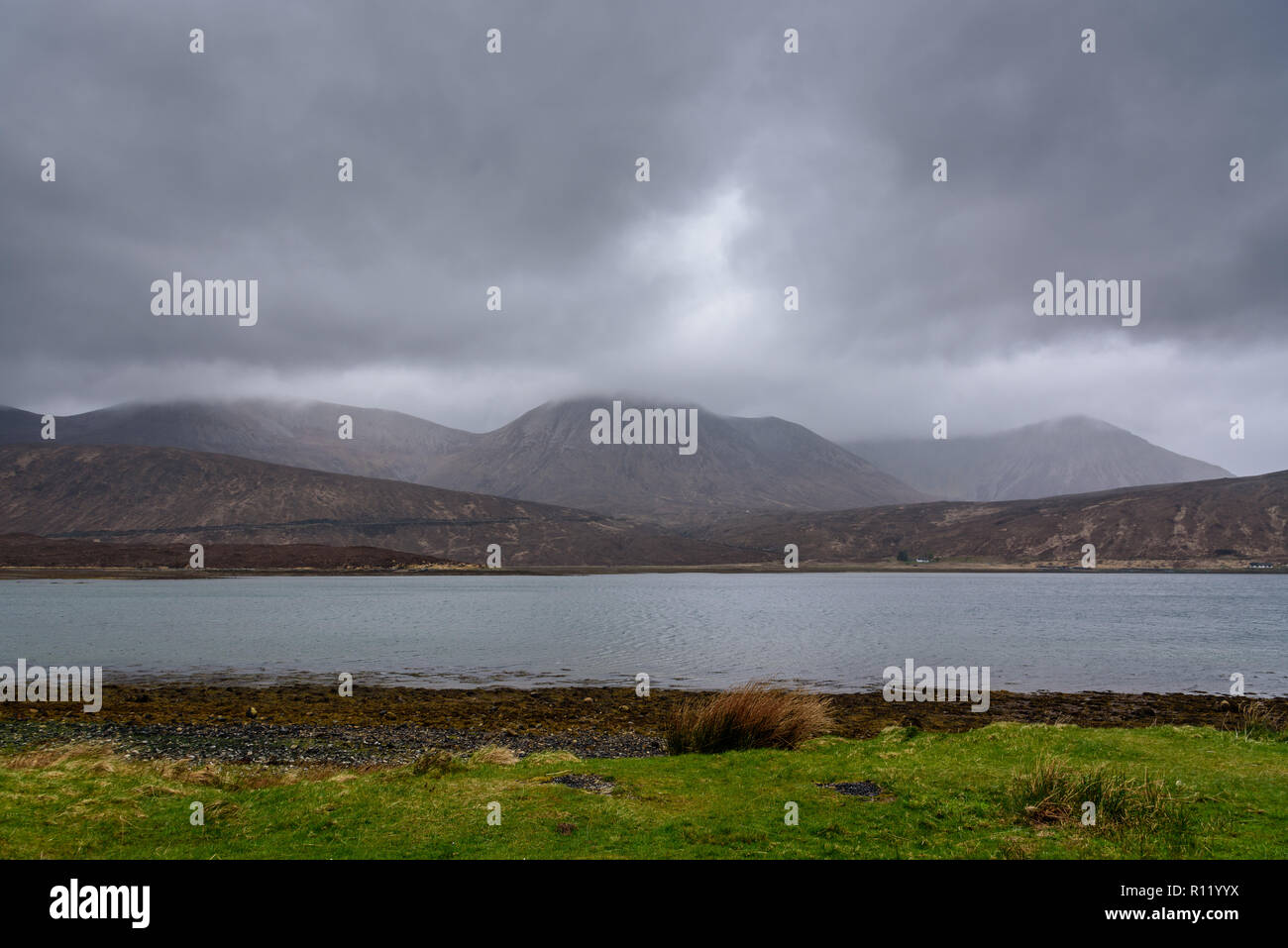 Breathtaking Scottish landscapes in autumn - beautiful moody images from most iconic locations on the Isle of Skye - popular tourist destination Stock Photo