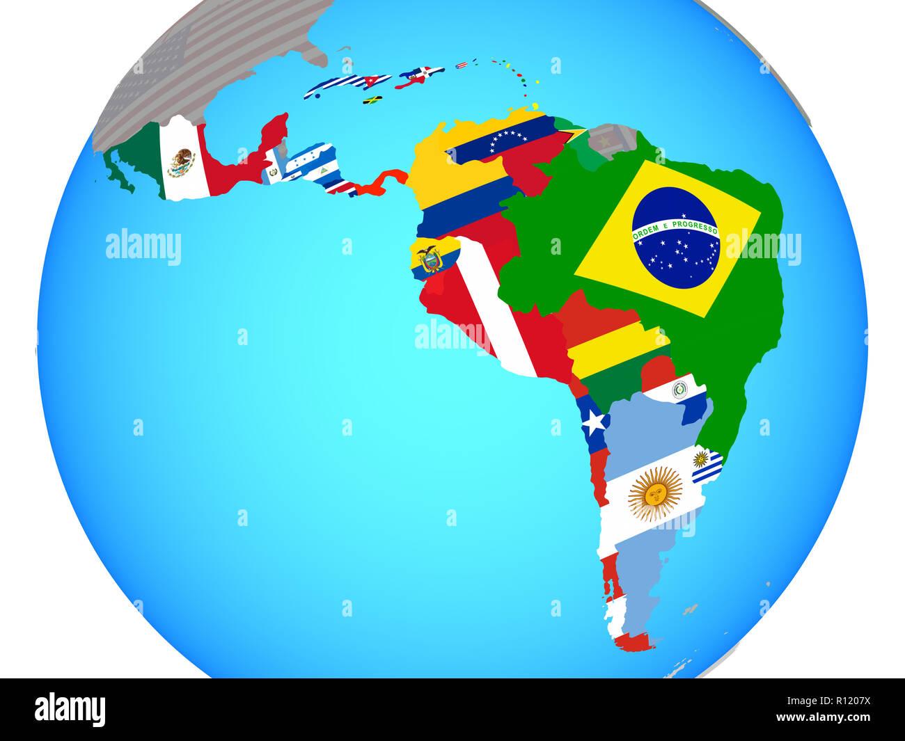 Map Latin America Flags Countries Stock Photos & Map Latin ...