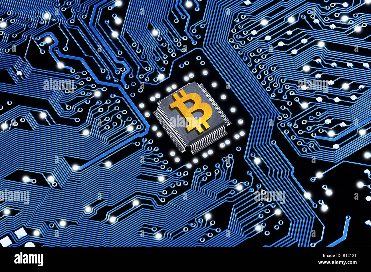Outstanding Printed Circuit Board With A Processor And A Bitcoin Symbol The Wiring 101 Swasaxxcnl