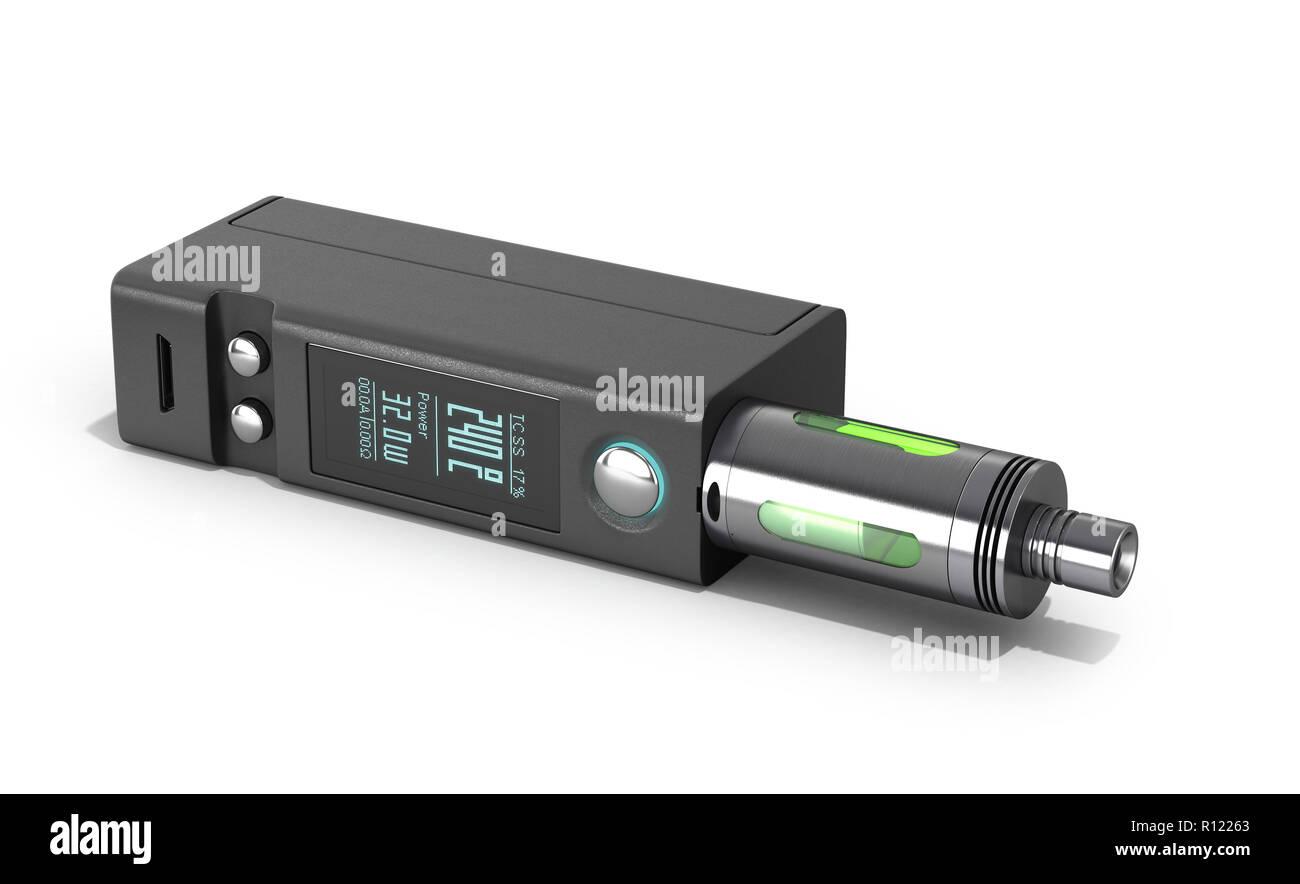 Electronic cigaretts Device box mod to smokeless smoking 3d render on white - Stock Image