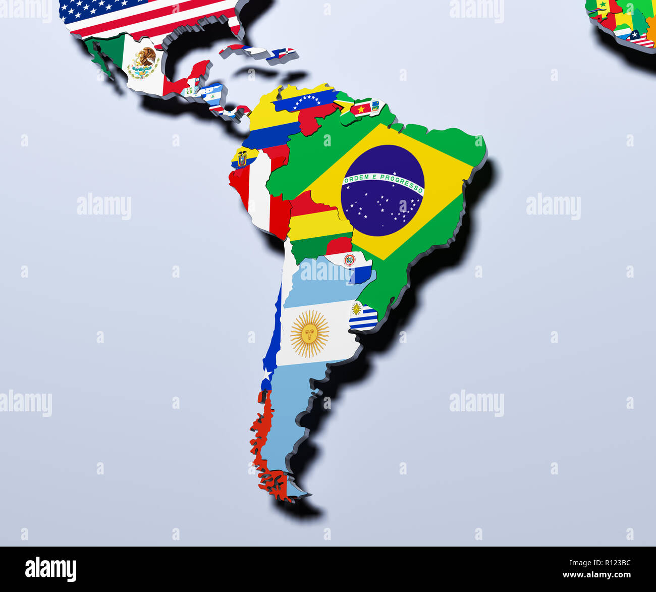 3d Map Of South America.South America Map 3d Illustration Stock Photo 224396016 Alamy