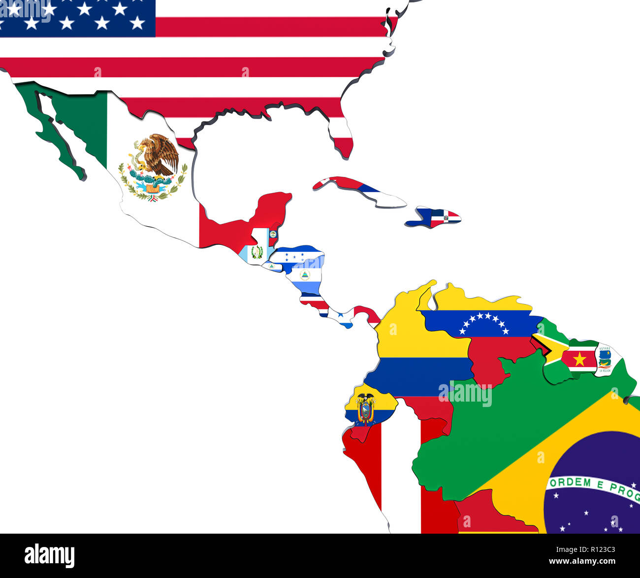 America Central Map 3d Render Stock Photo Alamy