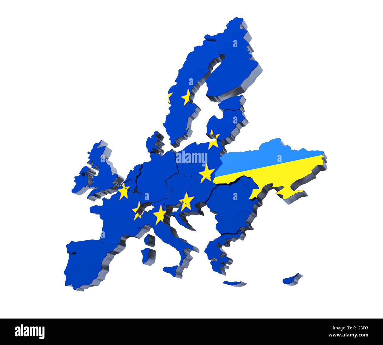 European Union political Map 3d rendered image on white