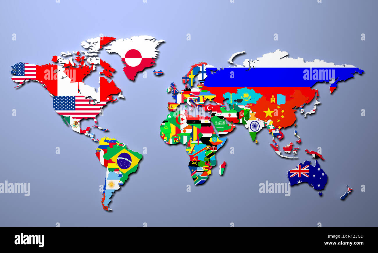 The world map with all states and their flags 3d illustration - Stock Image