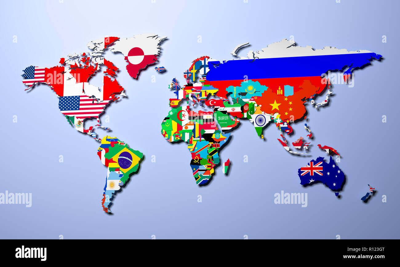 The world map with all states and their flags 3d render - Stock Image