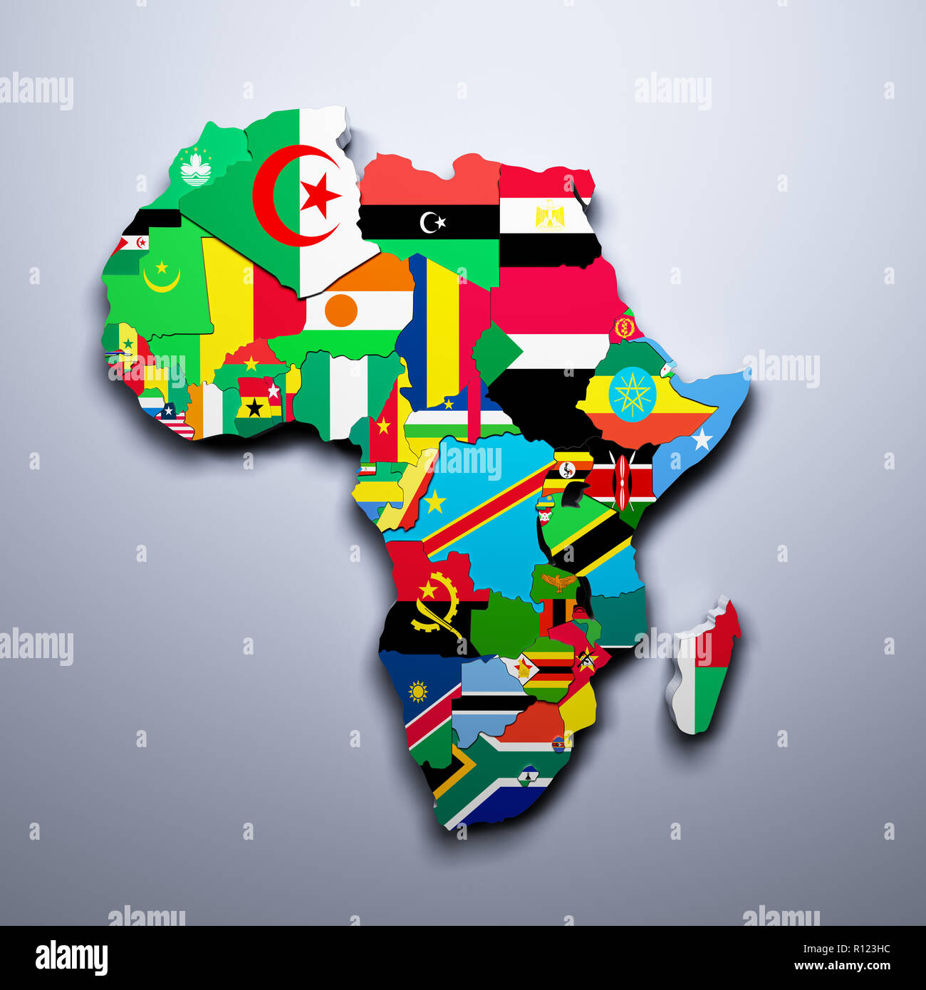 Map Of Africa Flags.Africa Map With Flags Of The Countries 3d Render Stock Photo