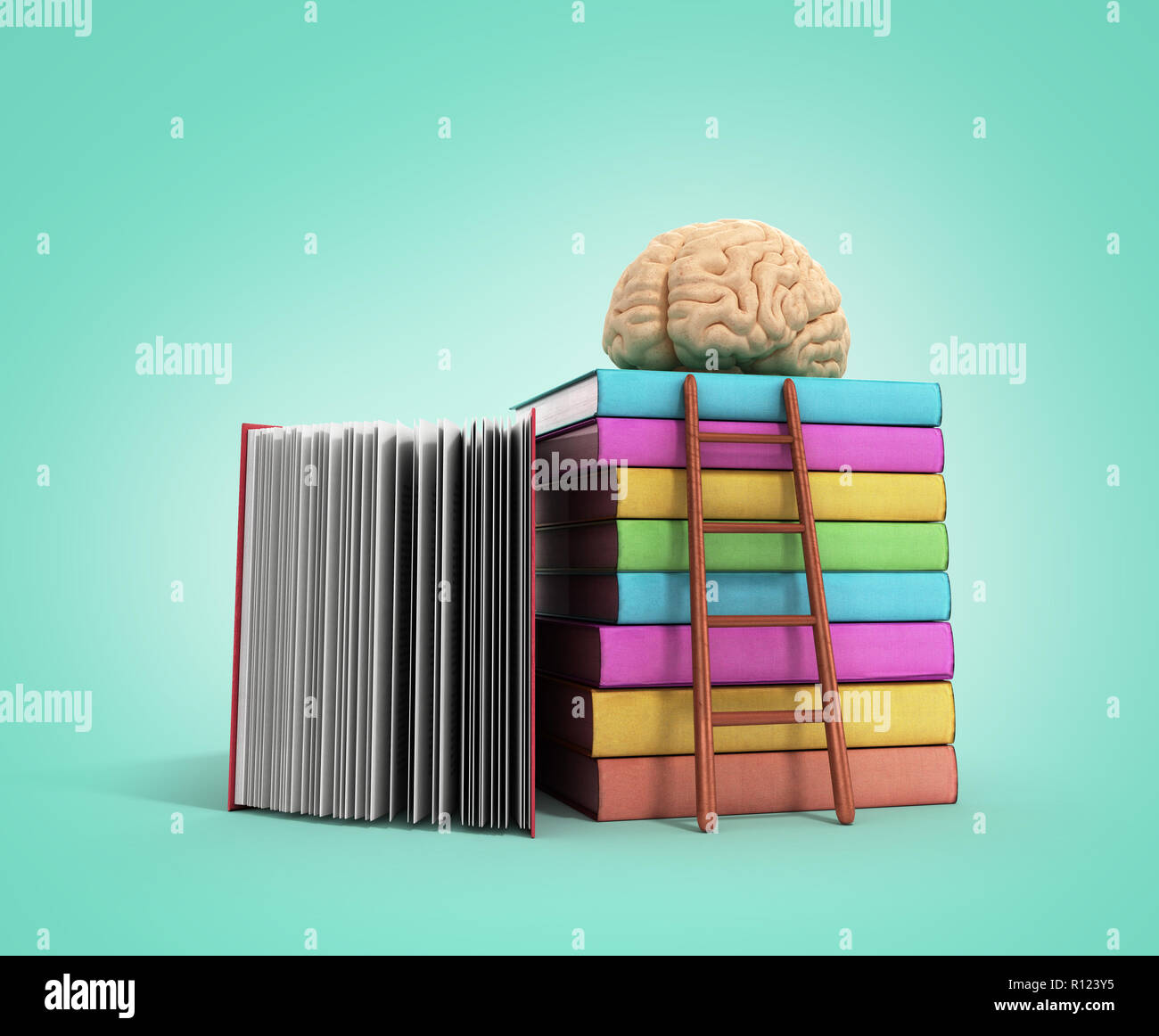brain training concept lies on a pile of books and a wooden staircase next to them 3d render on a gradient background - Stock Image