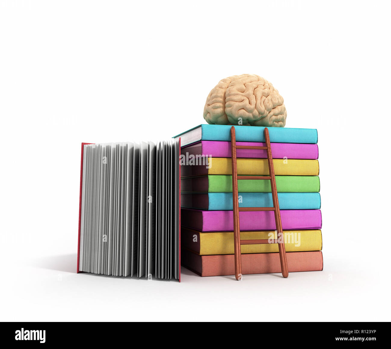 brain training concept lies on a pile of books and a wooden staircase next to them 3d render on a white background - Stock Image