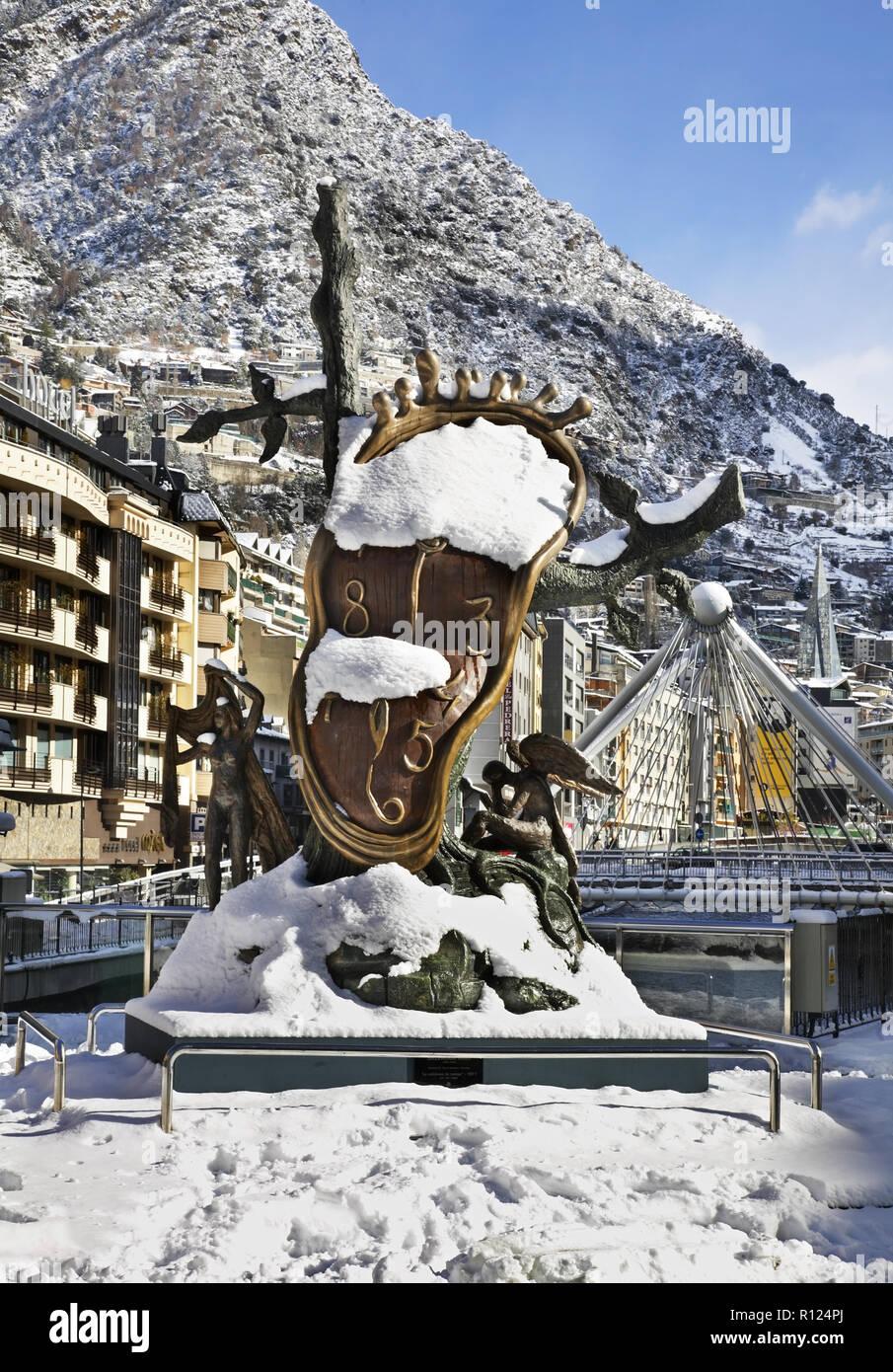 Salvador Dali sculpture, Nobility of Time in Andorra la Vella. Andorra Stock Photo