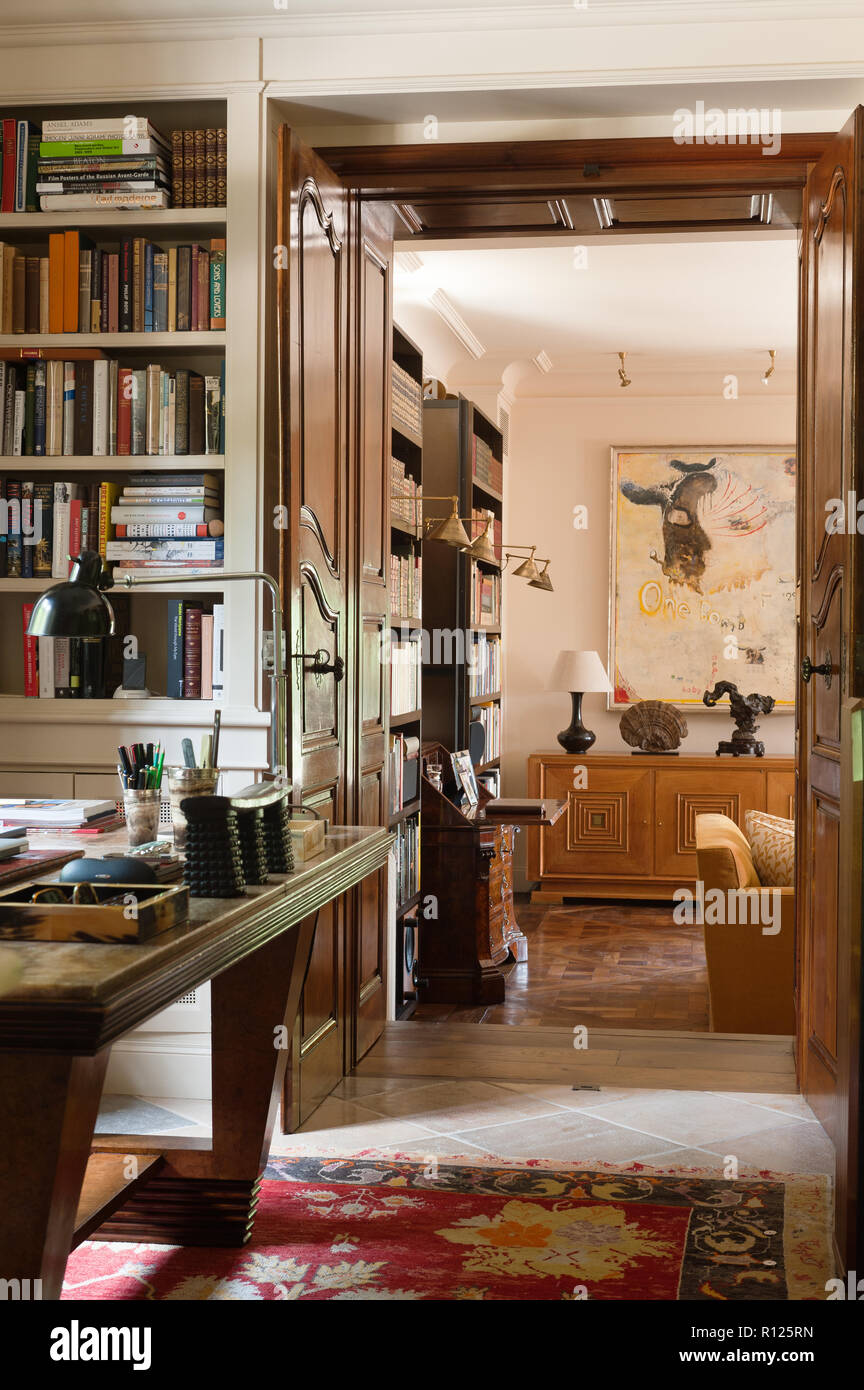 Office by living room - Stock Image