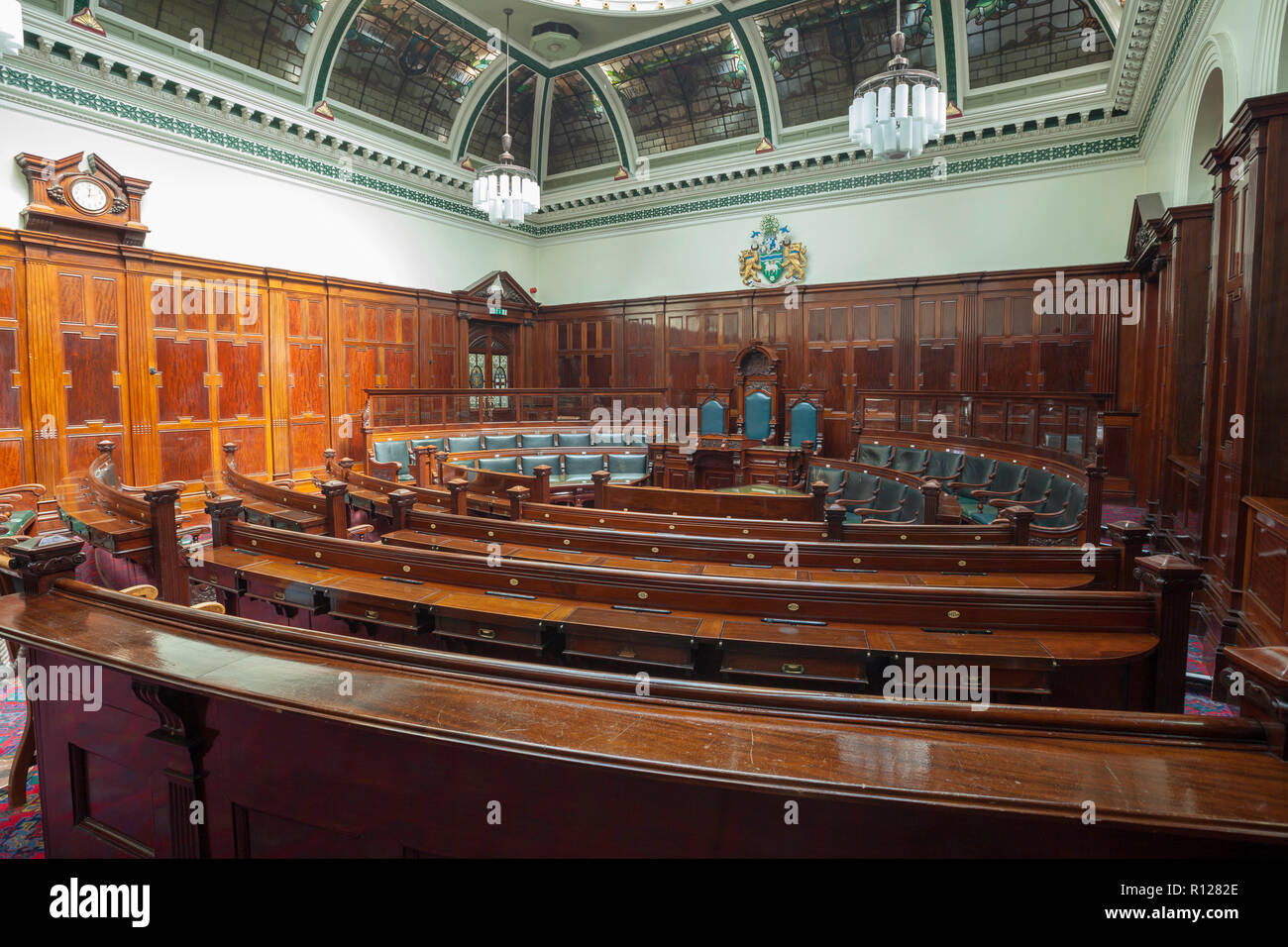The council chamber of Halifax Town Hall - Stock Image