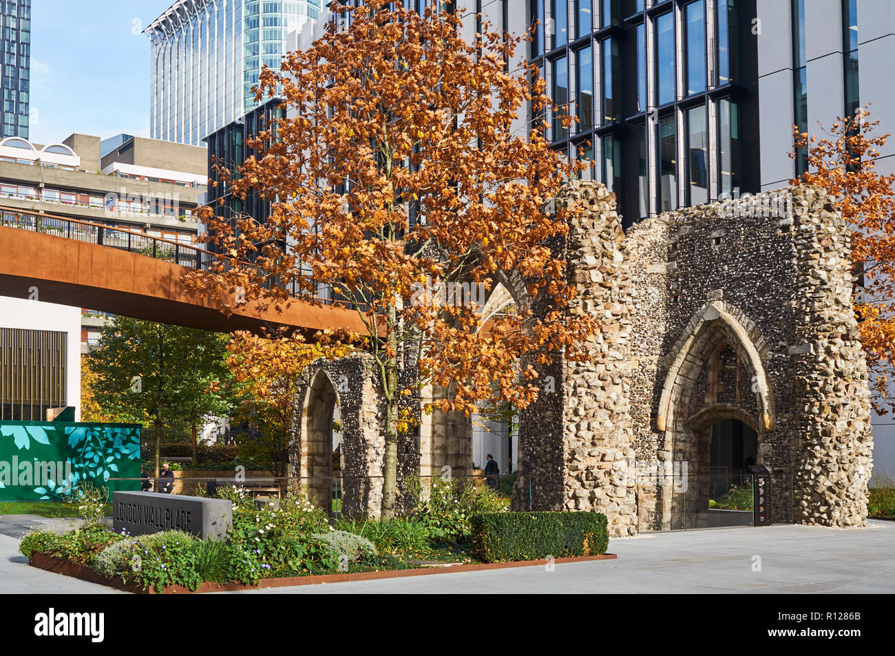 Remains of the medieval St Alphege church on London Wall near the Barbican, in the City of London, UK - Stock Image