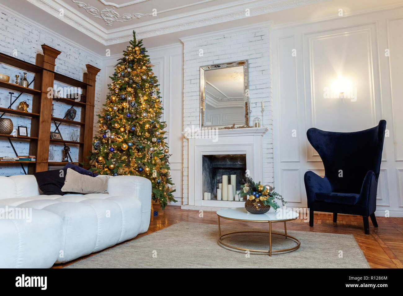 Classic Christmas Decorated Interior Room New Year Tree Christmas