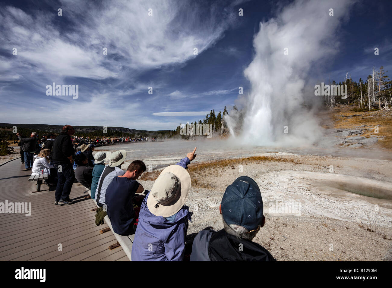 WY03598-00...WYOMING - Grand Geyser in the Old Faithful area of Yellowstone National Park. - Stock Image