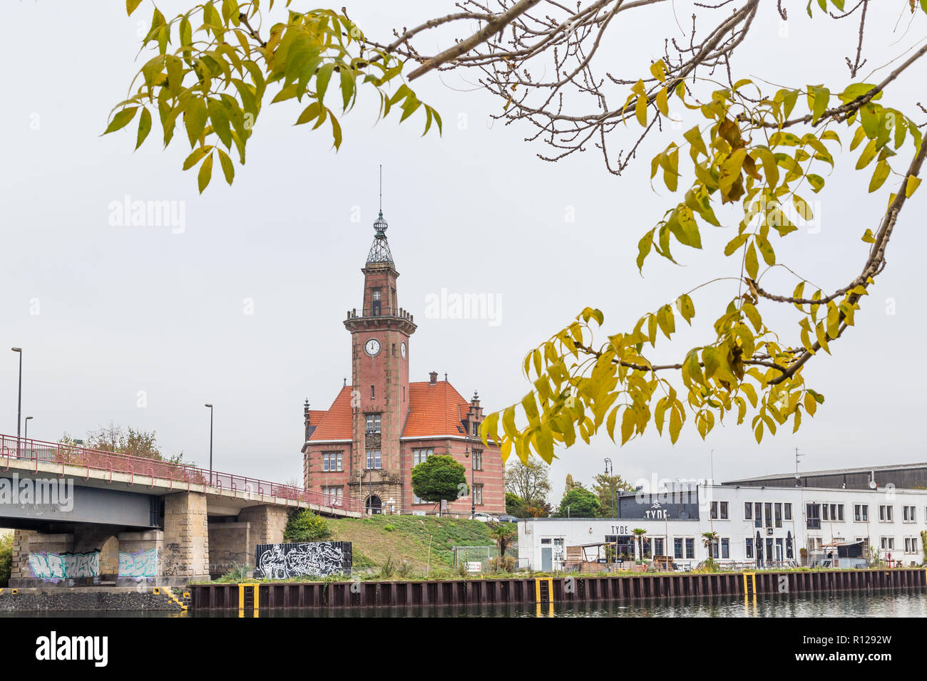 Dortmund, North Rhine Westphalia, Germany - October 19, 2018:  Old port authority (Altes Hafenamt) in Dortmund Germany. - Stock Image
