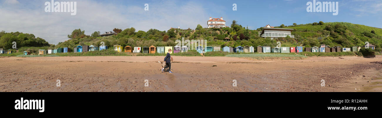 Panorama of Coldingham beach, Scottish Borders, with colourful beach huts - Stock Image