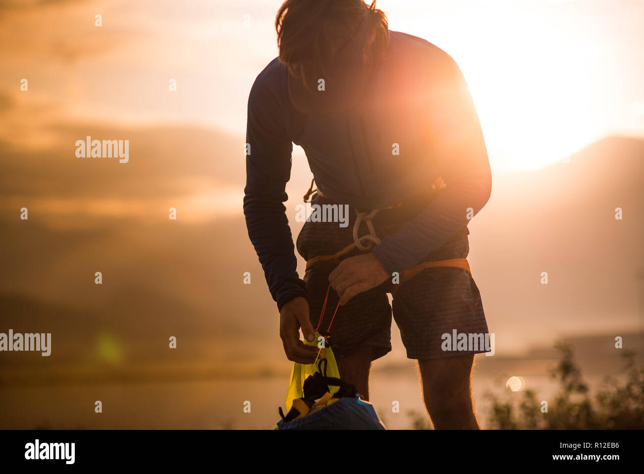 Man on rock climbing trip, Squamish, Canada - Stock Image