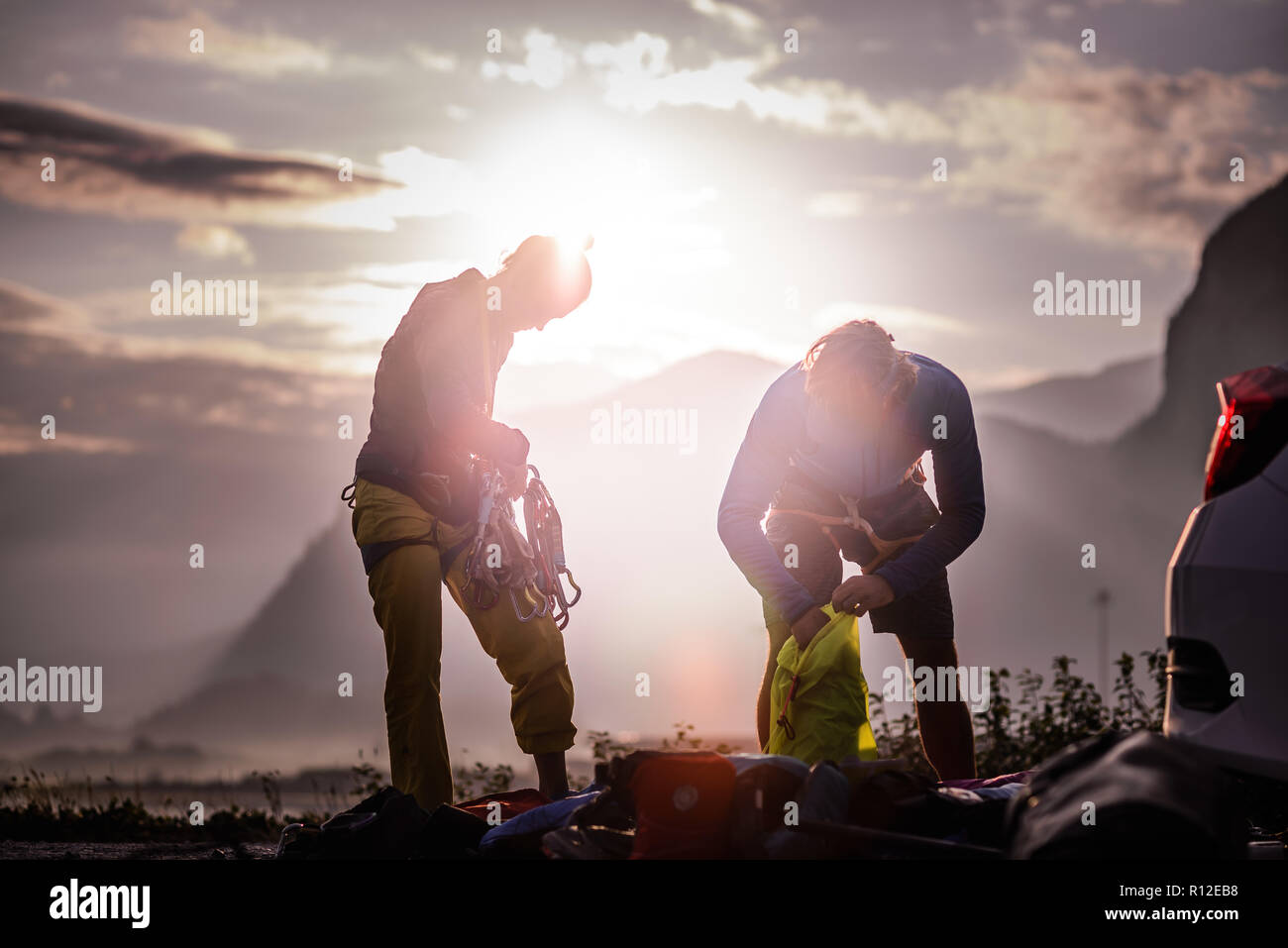 Friends on rock climbing trip, Squamish, Canada - Stock Image