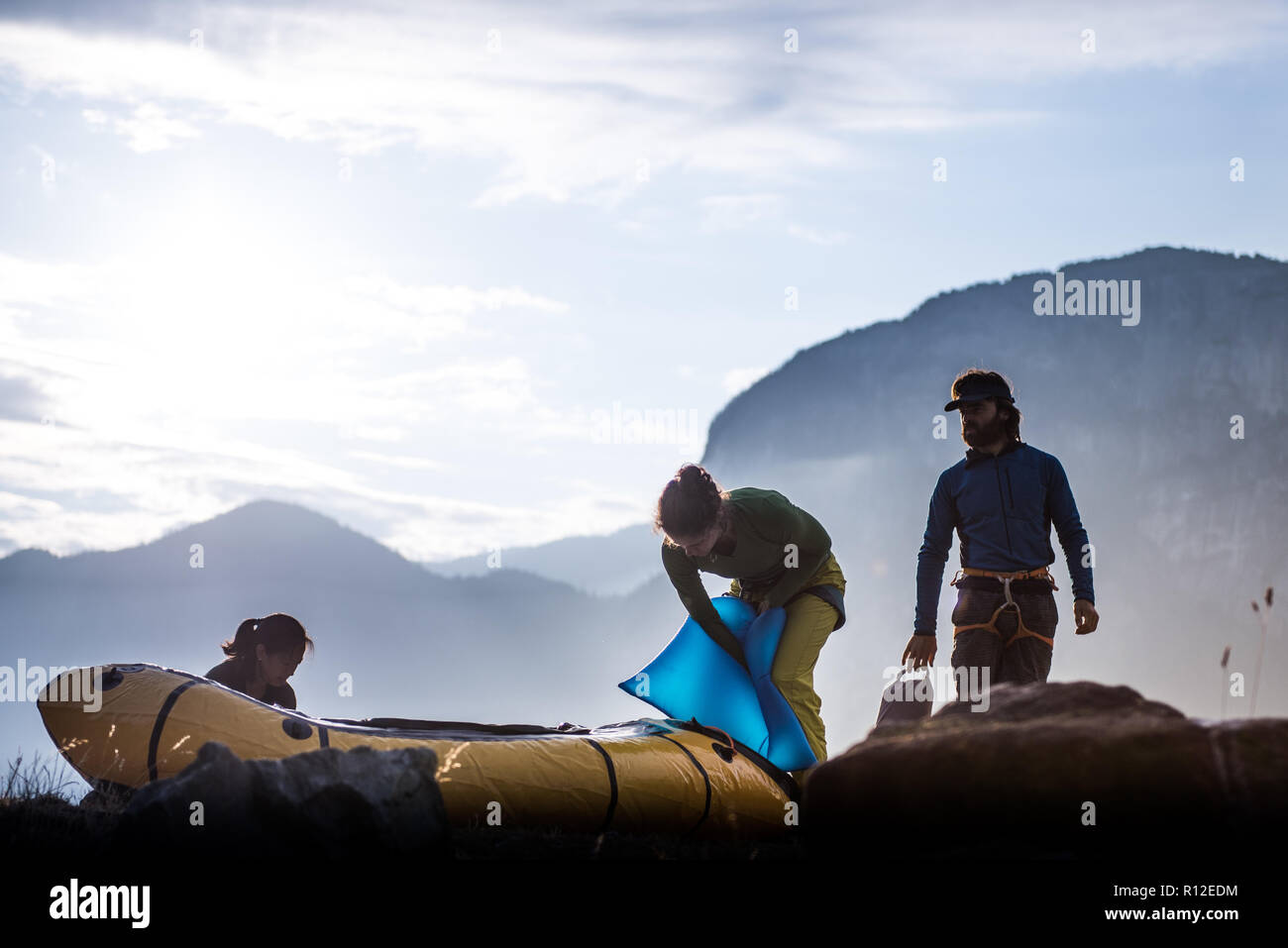Friends on rock climbing trip, Squamish, Canada Stock Photo