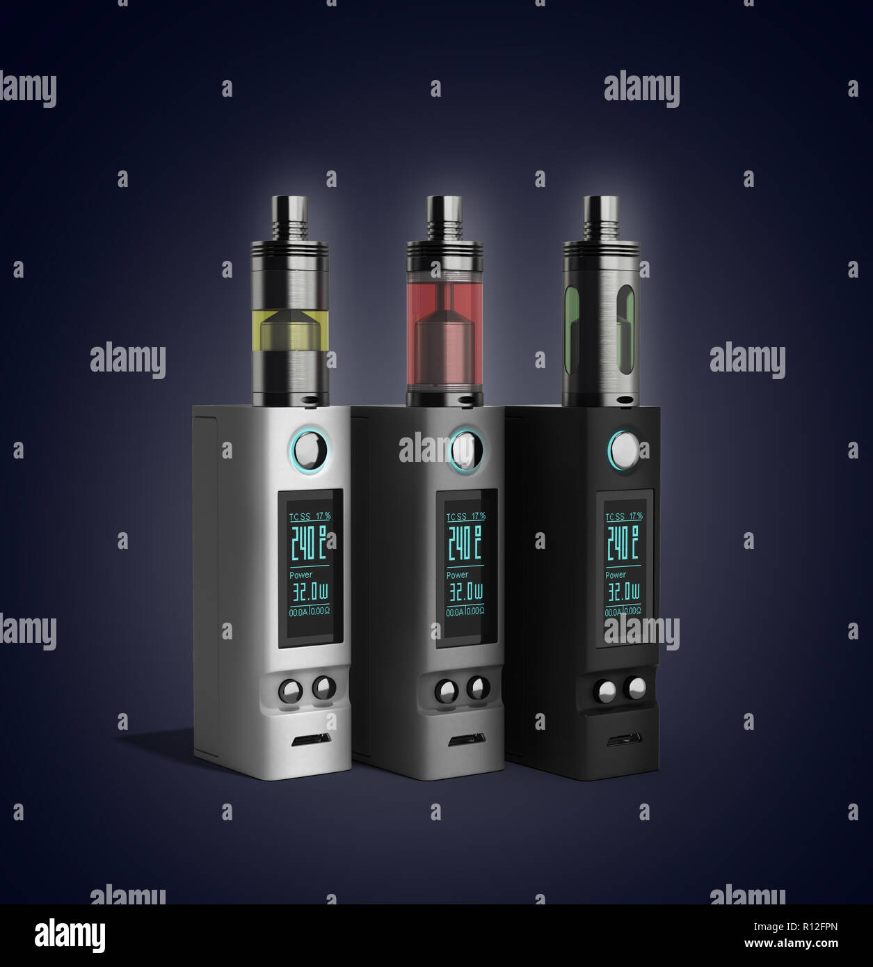 Electronic cigaretts Device box mod to smokeless smoking 3d render on gradient - Stock Image
