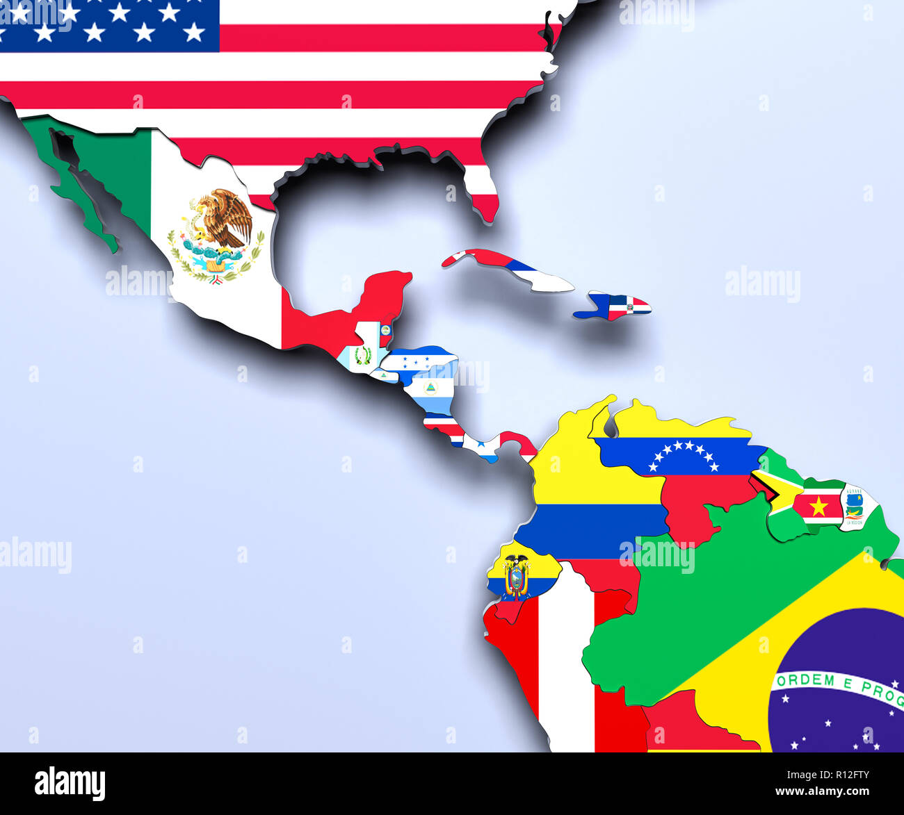 America Central Map 3d Render Stock Photo 224405803 Alamy