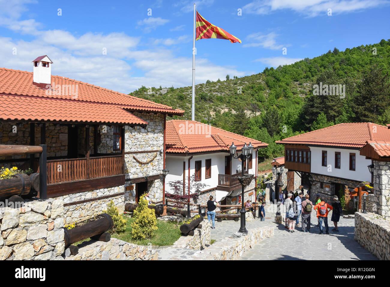 Traditional houses, Macedonian Village Resort, Gorno Nerezi, Skopje, Skopje Region, Republic of Macedonia - Stock Image