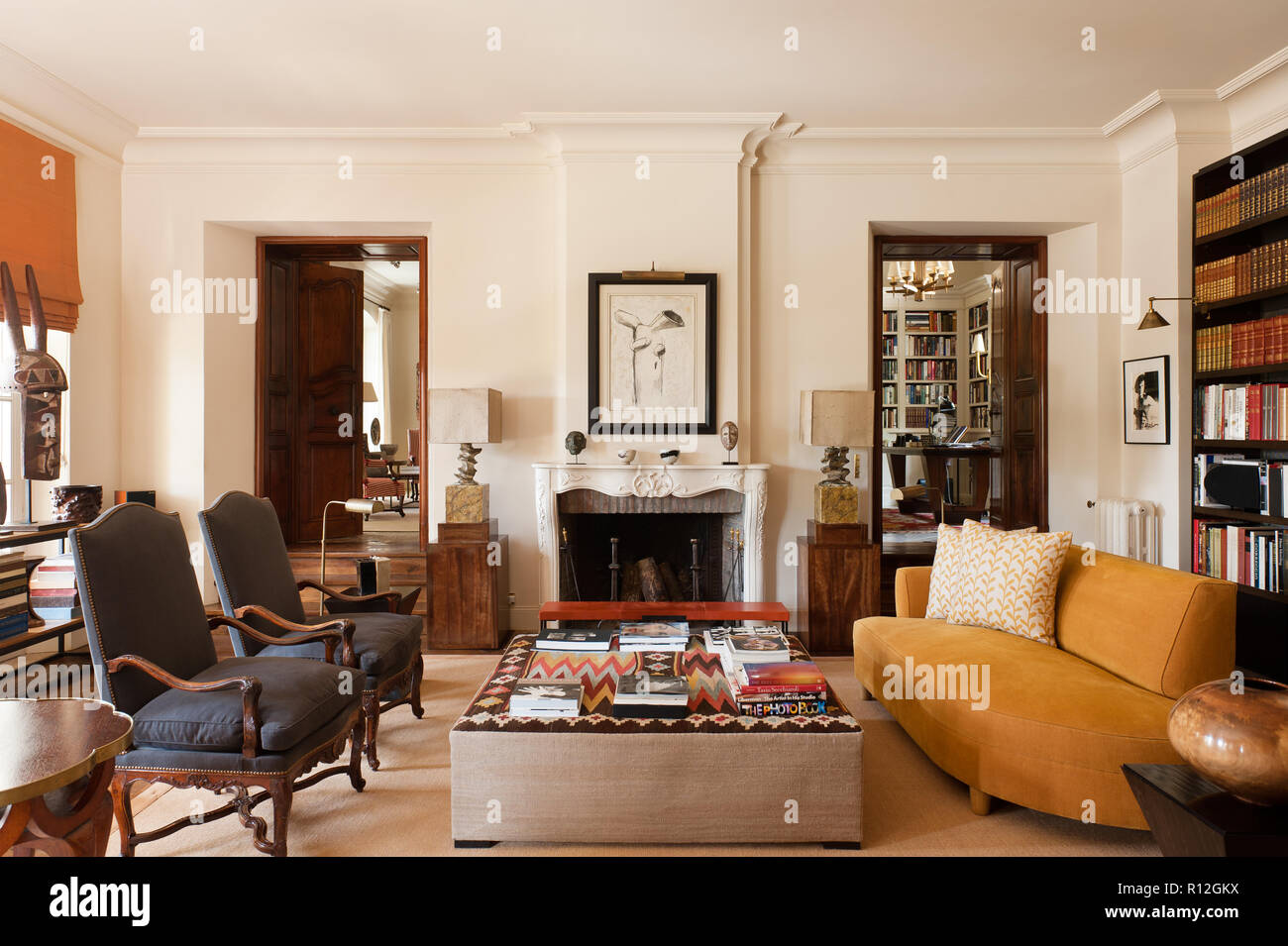 Masculine Living Room With Fireplace Stock Photo 224406446 Alamy